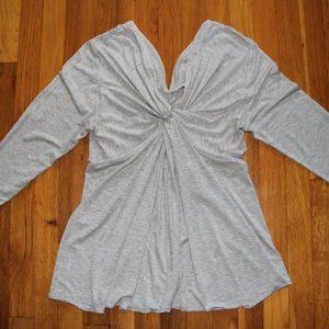 Boston Proper V-Neck Twist Shirt Womens L Gray